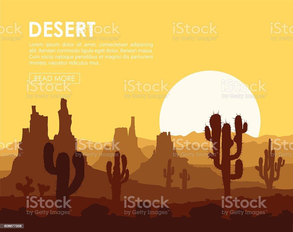 Sunset in stone desert with cactuses vector art illustration