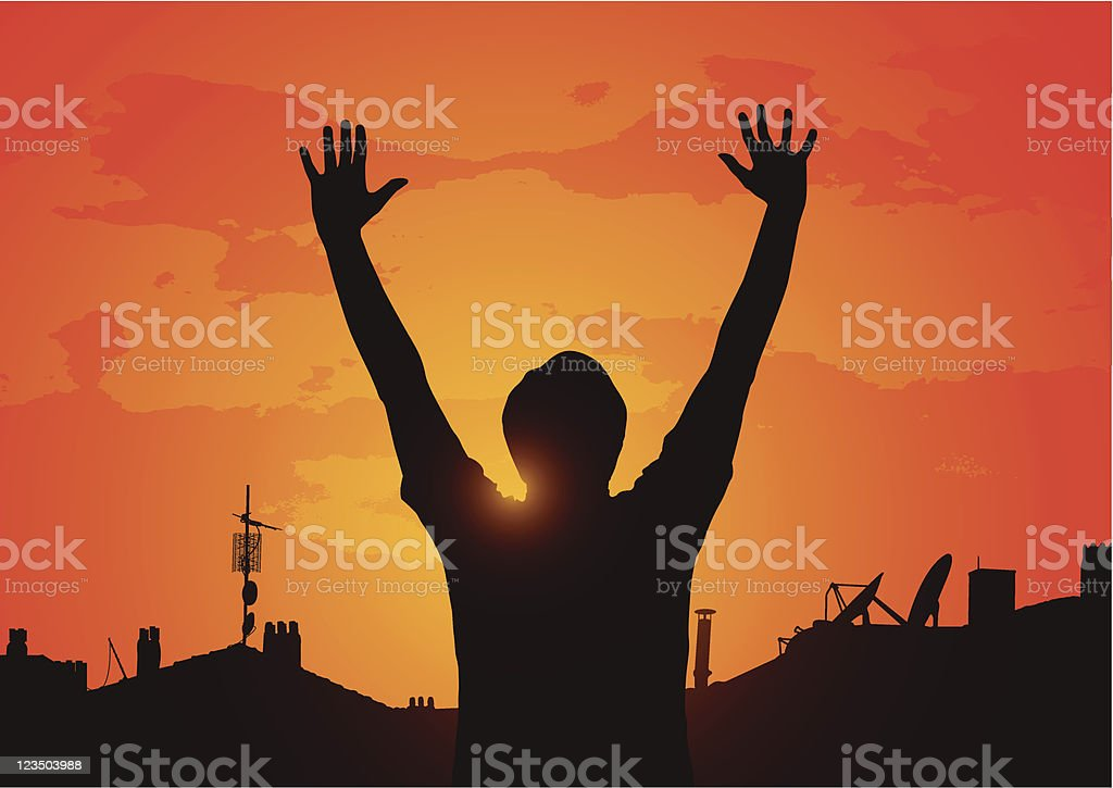 Sunset in suburbia royalty-free stock vector art