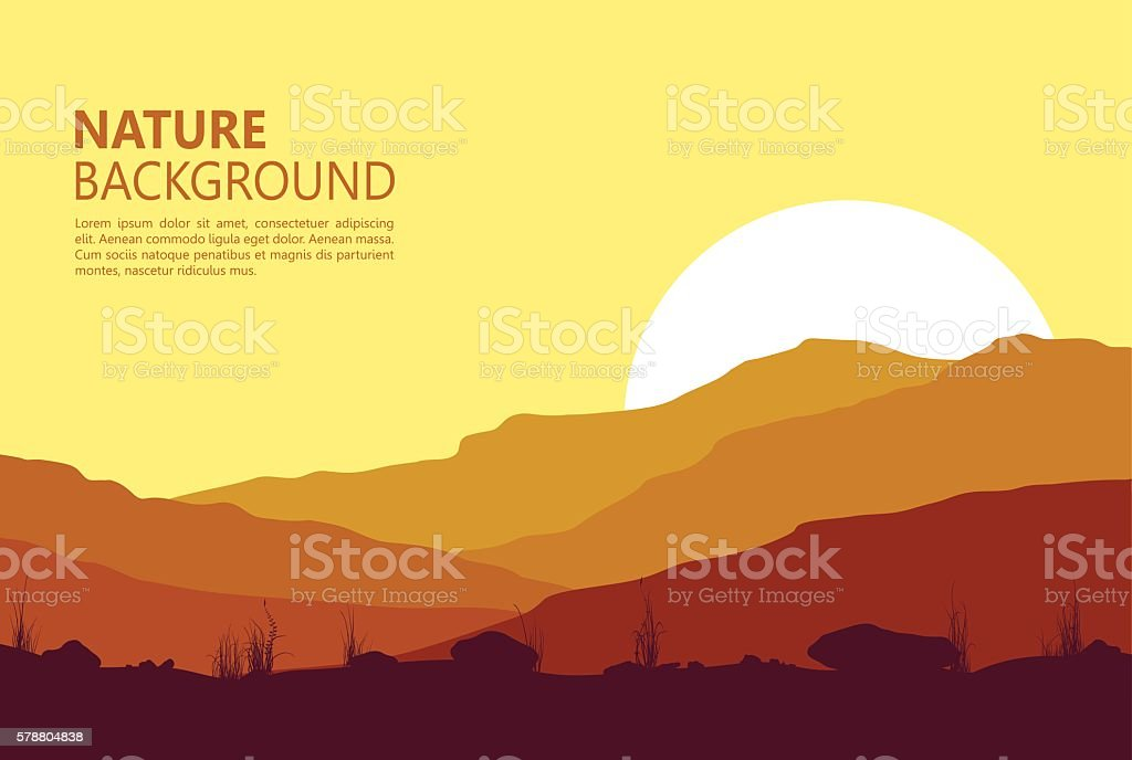 Sunset in the Mountains vector art illustration