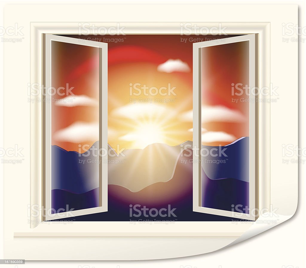 sunset in the open window royalty-free stock vector art