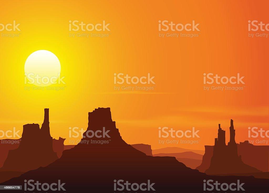 Sunset in the Rocky Mountains. Vector illustration. vector art illustration