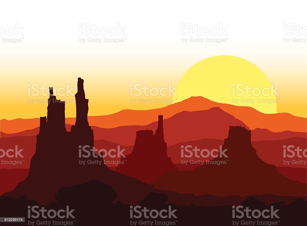 Sunset in the Rocky Mountains. Vector illustration. vector art illustration