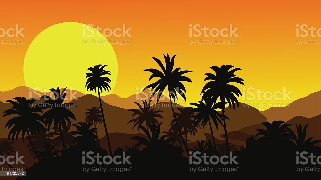 Sunset in the tropical mountains with silhouettes of palm trees. vector art illustration