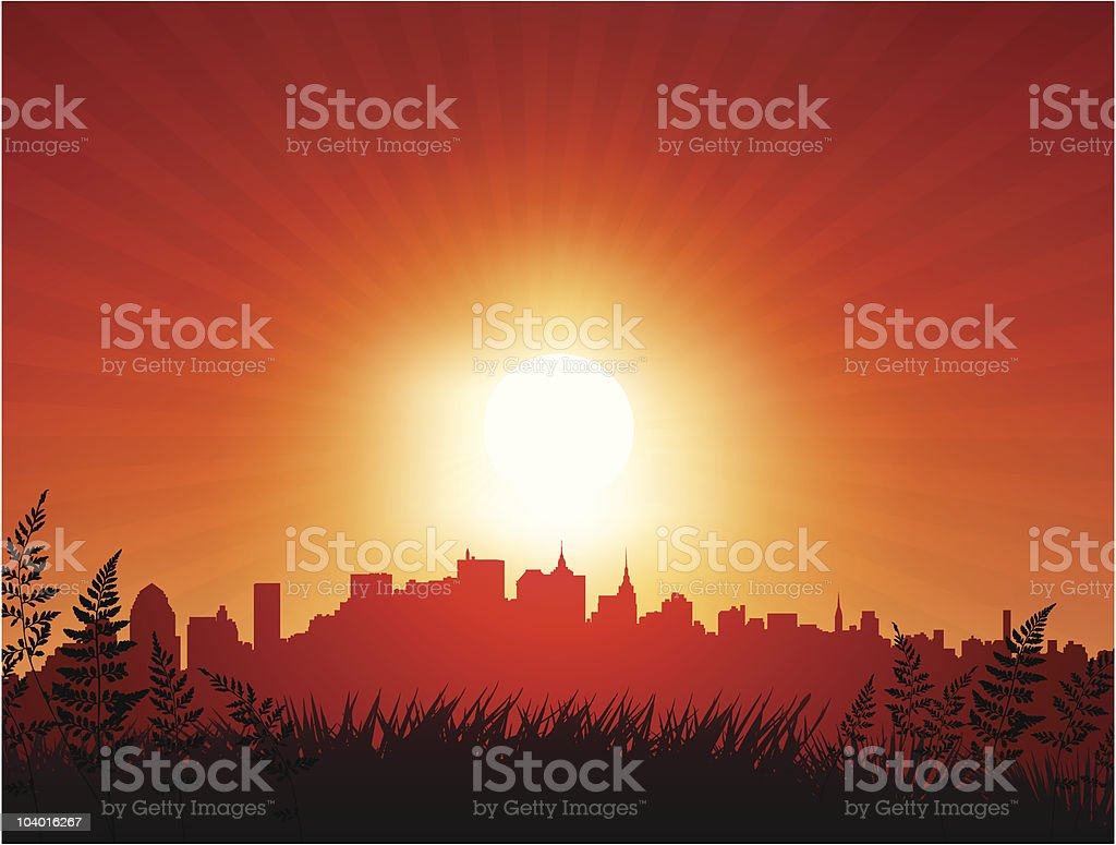 Sunset Internet Background with Skyline royalty-free stock vector art
