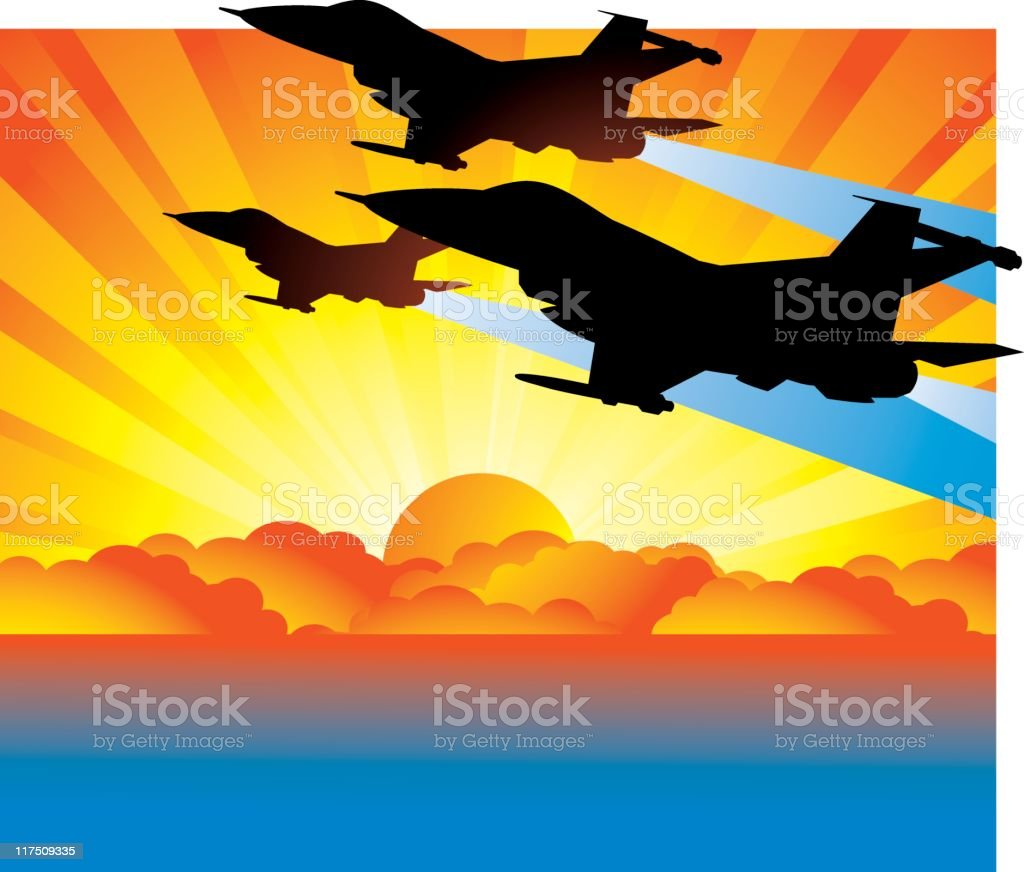 Sunset Jets vector art illustration