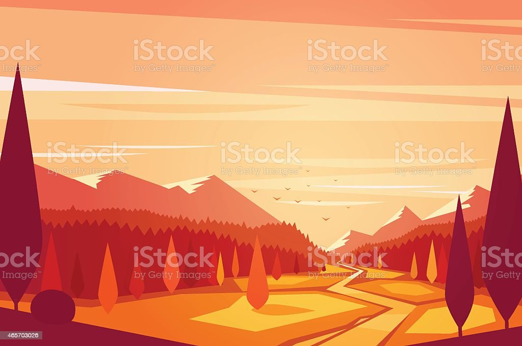 Sunset landscape. vector art illustration
