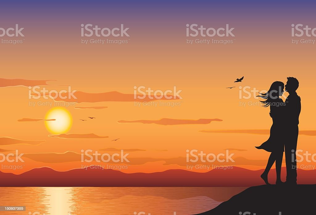 Sunset Lovers vector art illustration