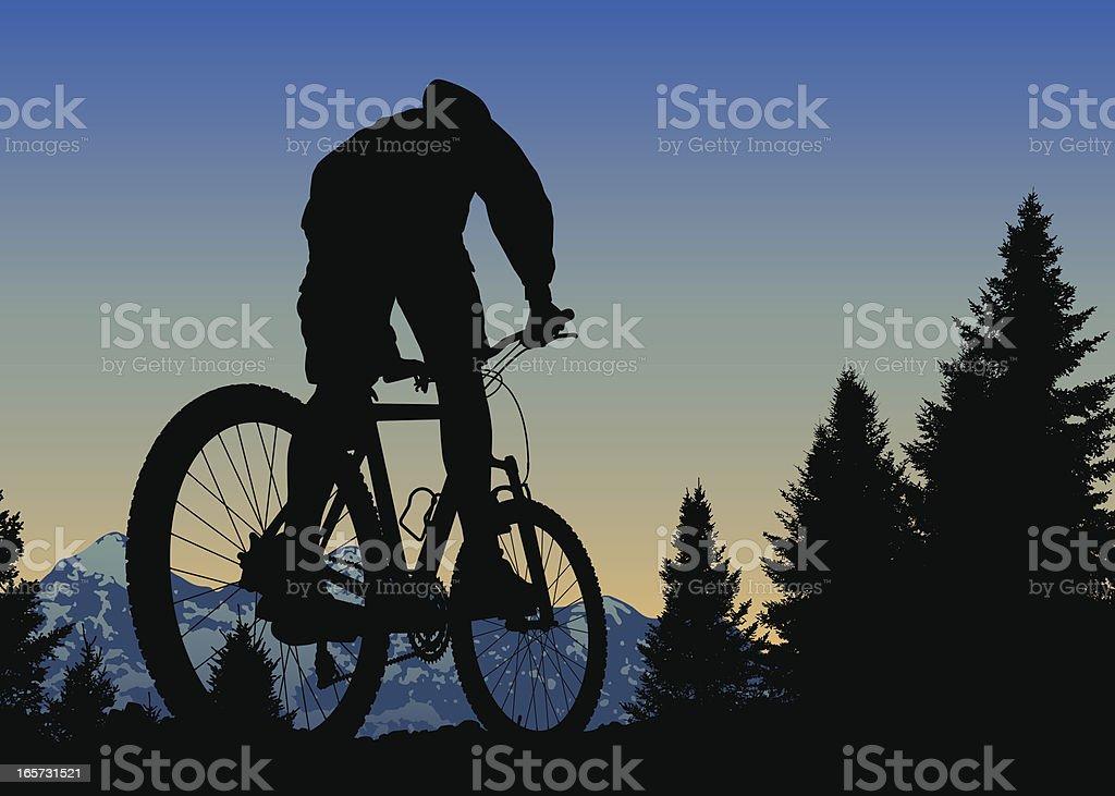 Sunset Mountain Bike Ride On Top Of The World vector art illustration
