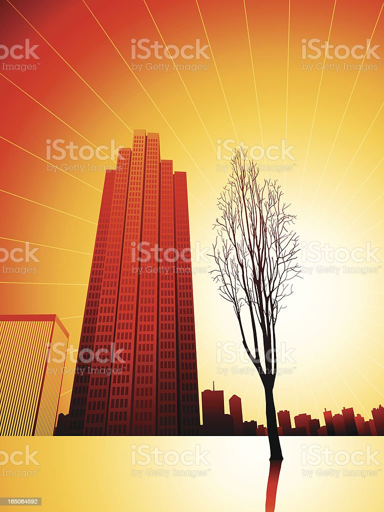 Sunset, Nature and City Life royalty-free stock vector art