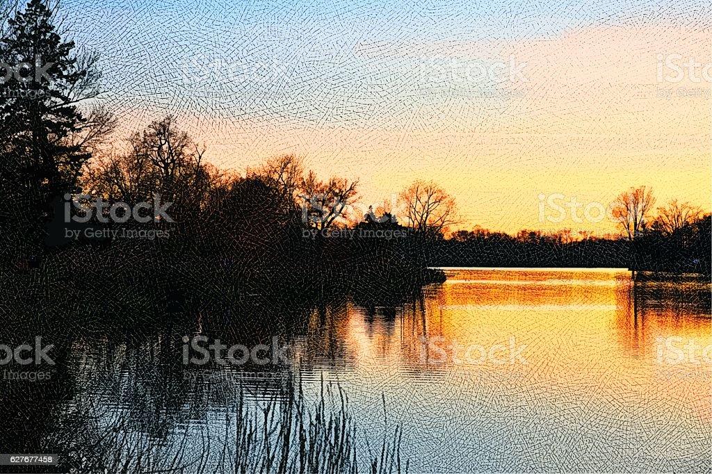 Sunset on a Minnesota Lake vector art illustration