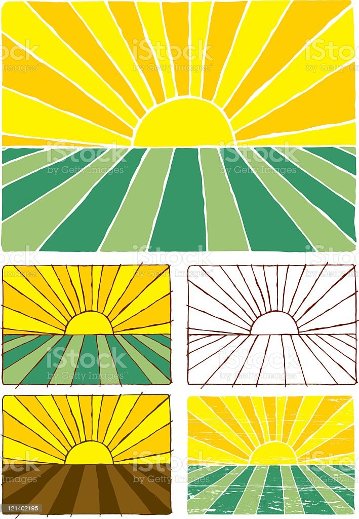 Sunset on green field royalty-free stock vector art