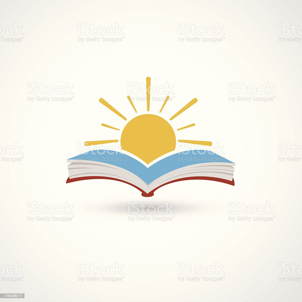 Sunset open book vector art illustration