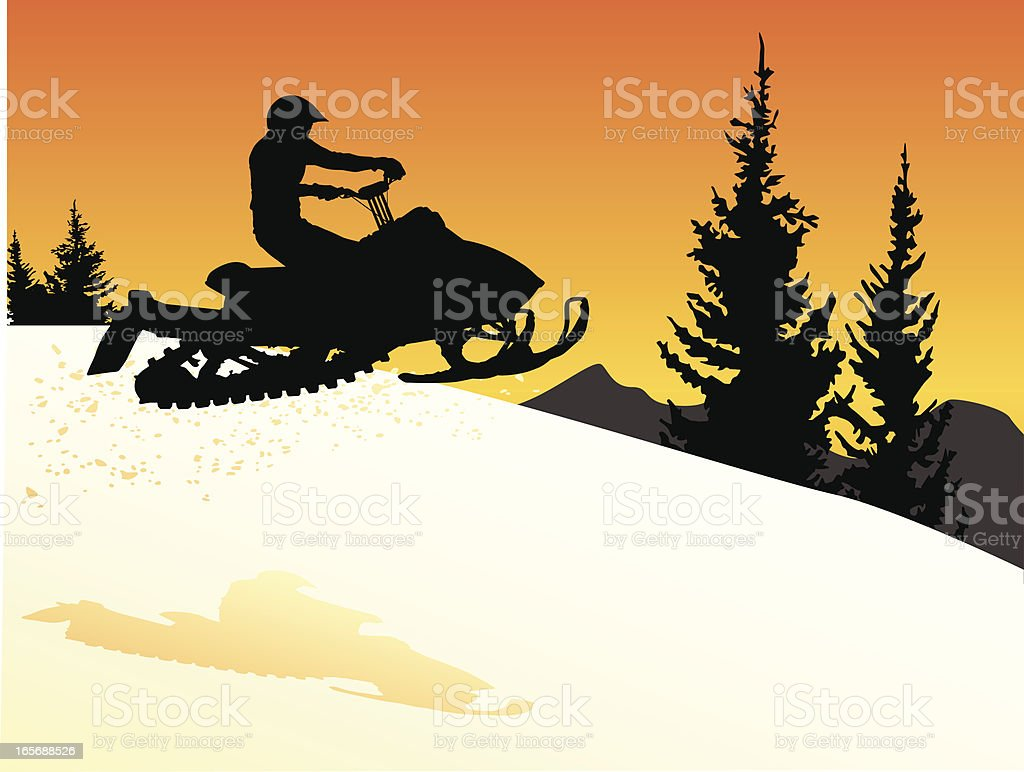Sunset silhouette of a snowmobile jumping with snow flying behind. vector art illustration