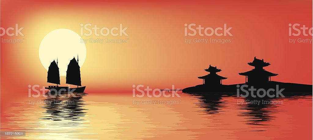 Sunset. vector art illustration