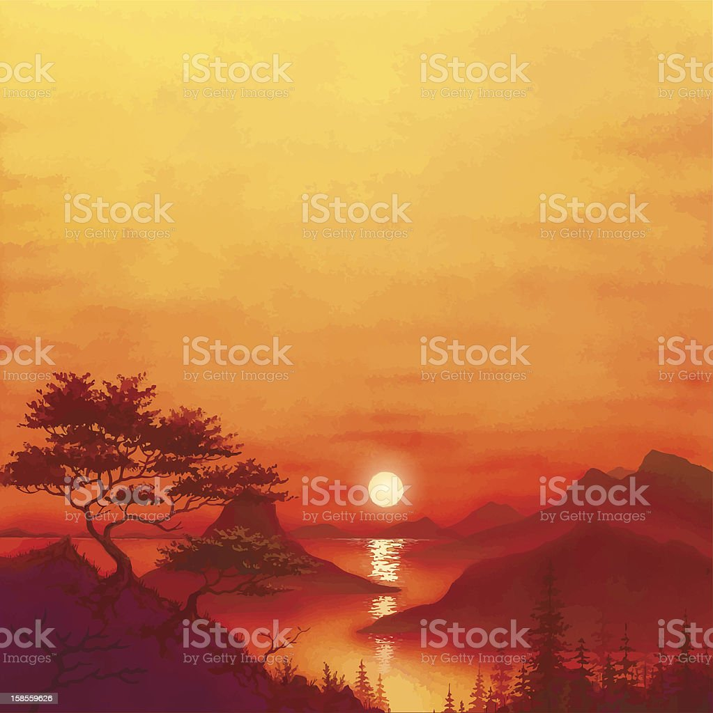 sunset royalty-free stock vector art