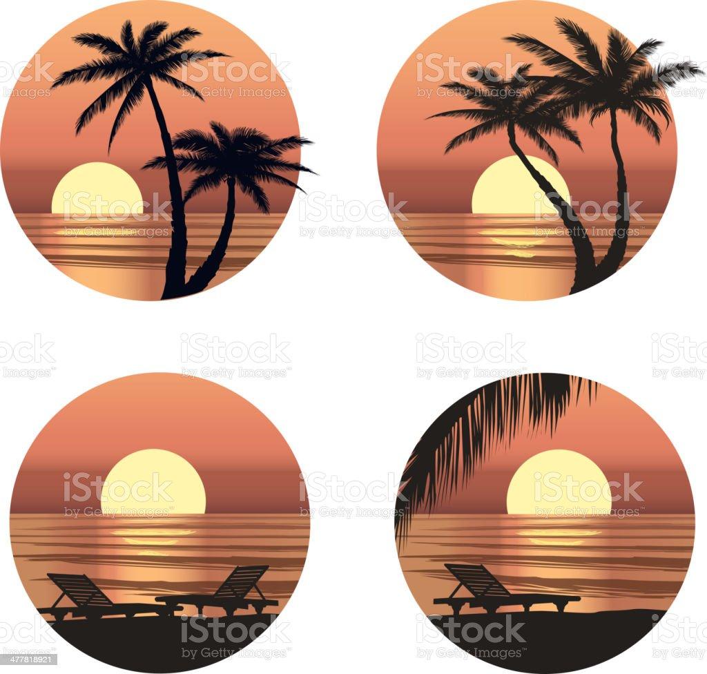 Sunset view at resort. Vector illustration set. vector art illustration