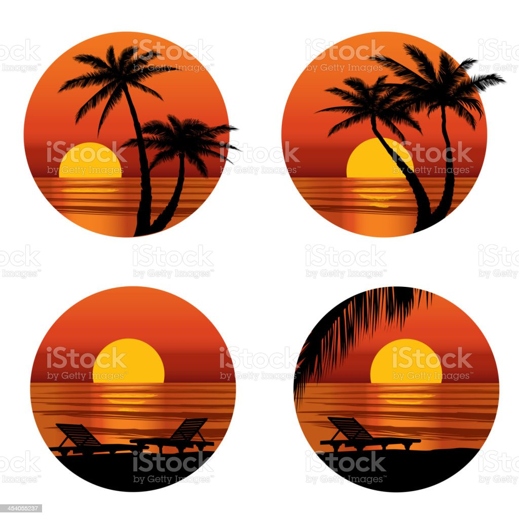 Sunset view in beach with palm tree. royalty-free stock vector art