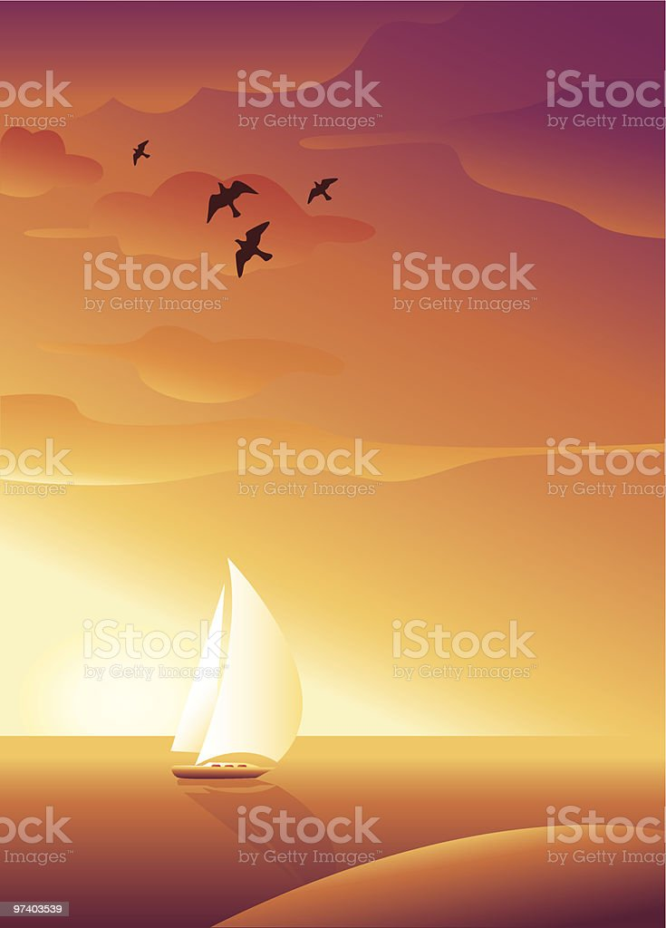Sunset view vector art illustration