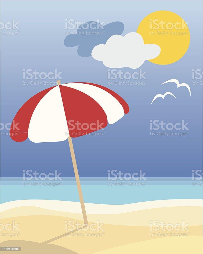 Sunshade and beach vector art illustration