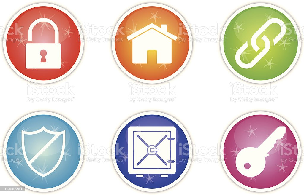 sunshine icons - security royalty-free stock vector art
