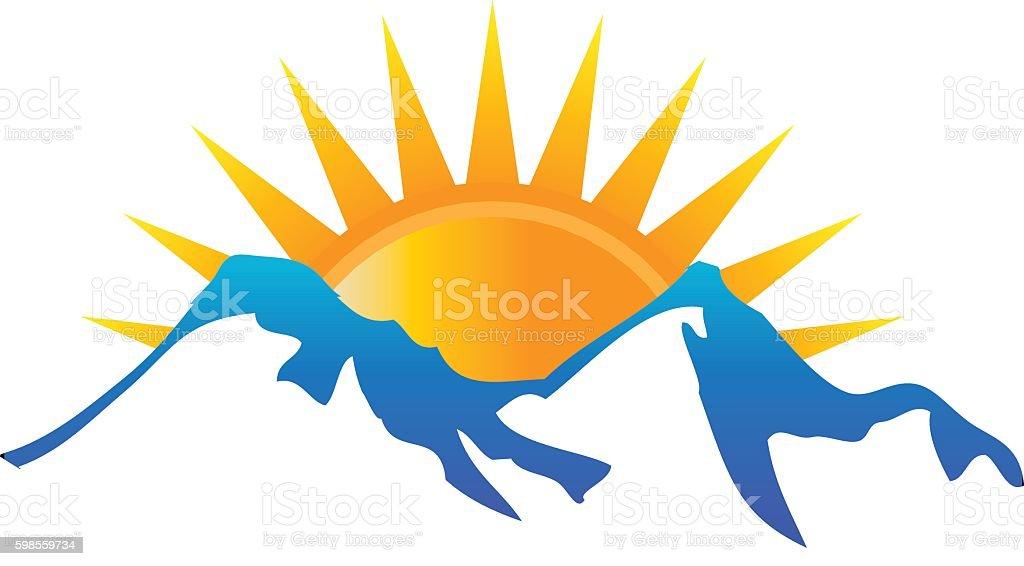 Sunshine over Mountains Landscape Illustration vector art illustration