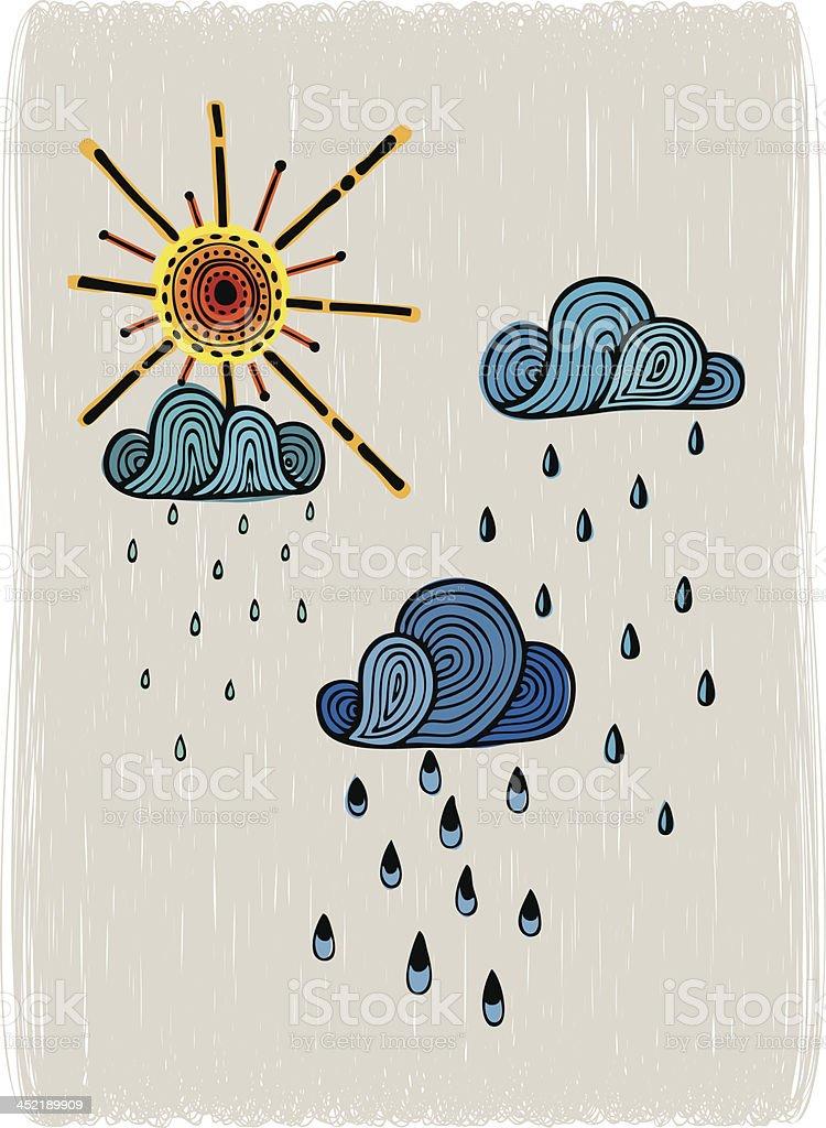 Sunshower vector art illustration
