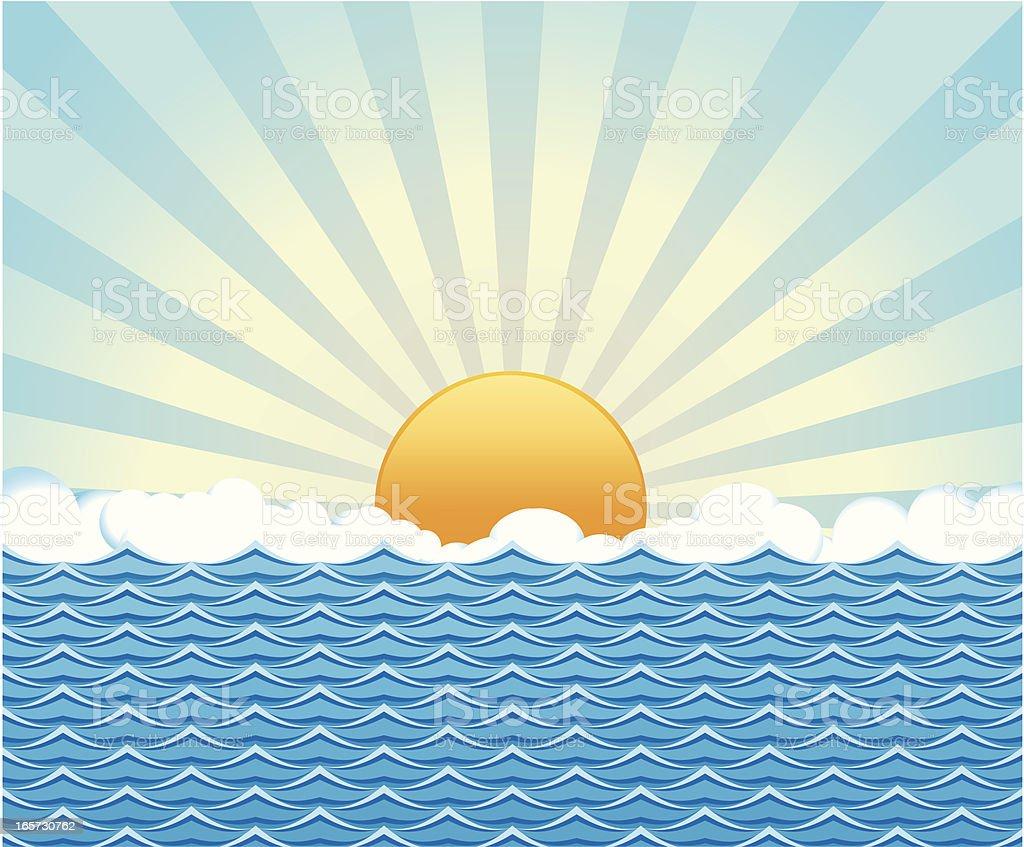Suny day on the Ocean vector art illustration