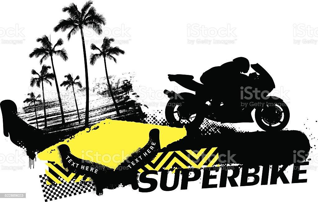 super bike racing banner with summer scene vector art illustration