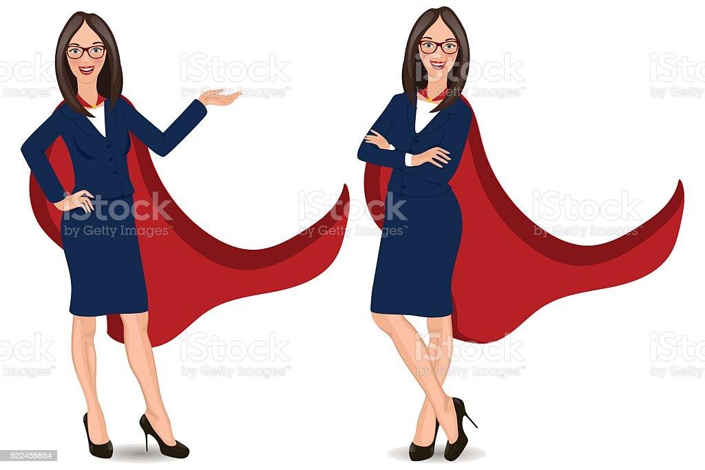 Super businesswoman in different poses vector art illustration