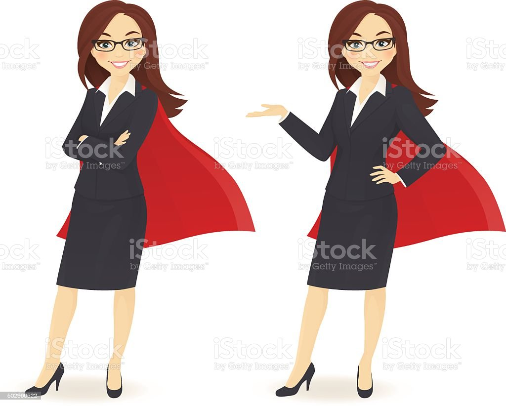 Super businesswoman vector art illustration