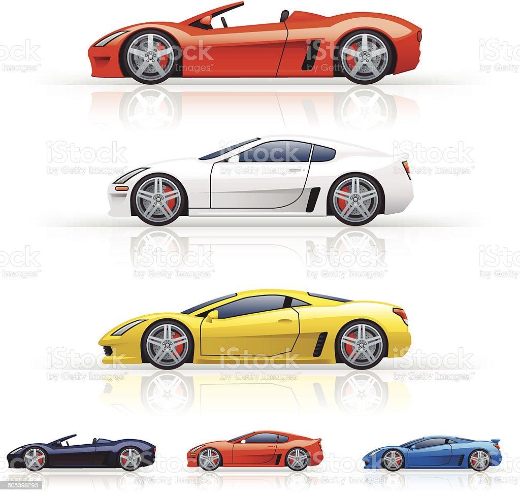 Super Cars vector art illustration