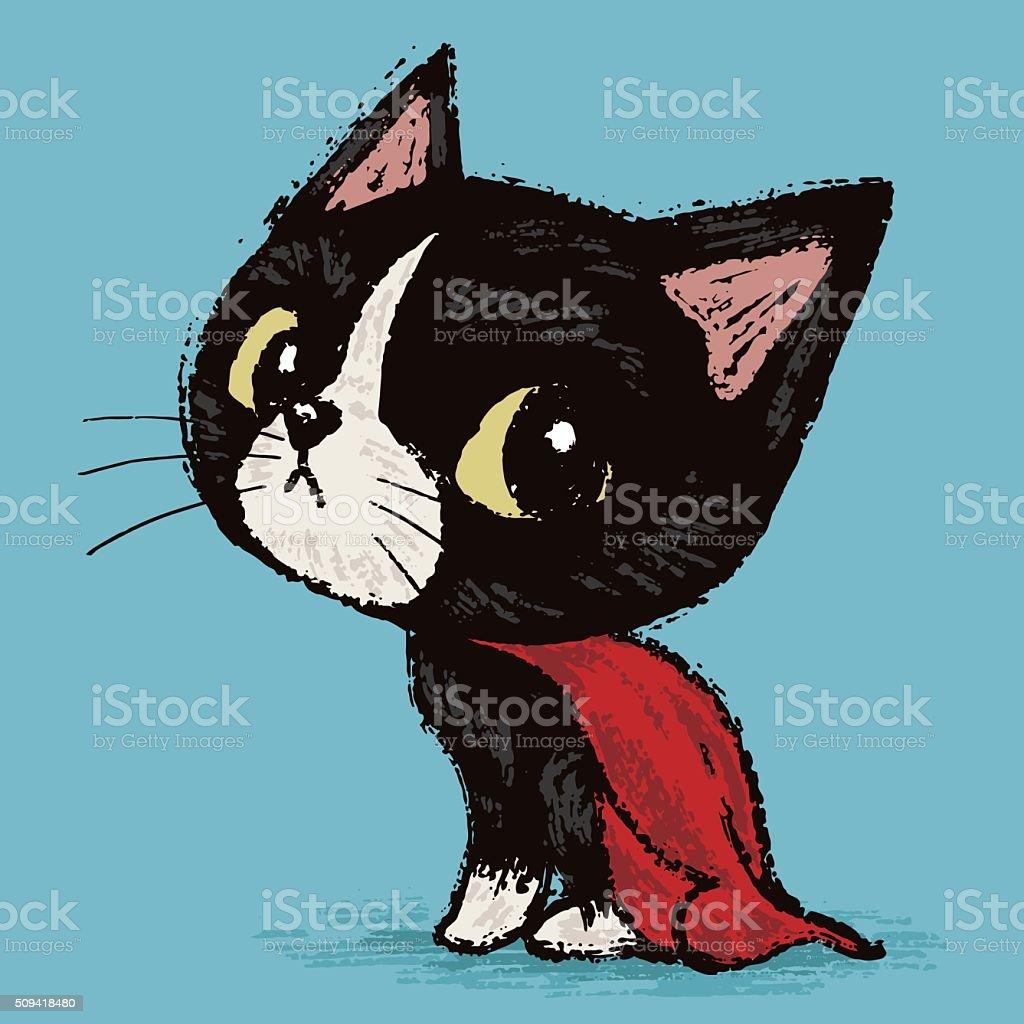 Super cat vector art illustration