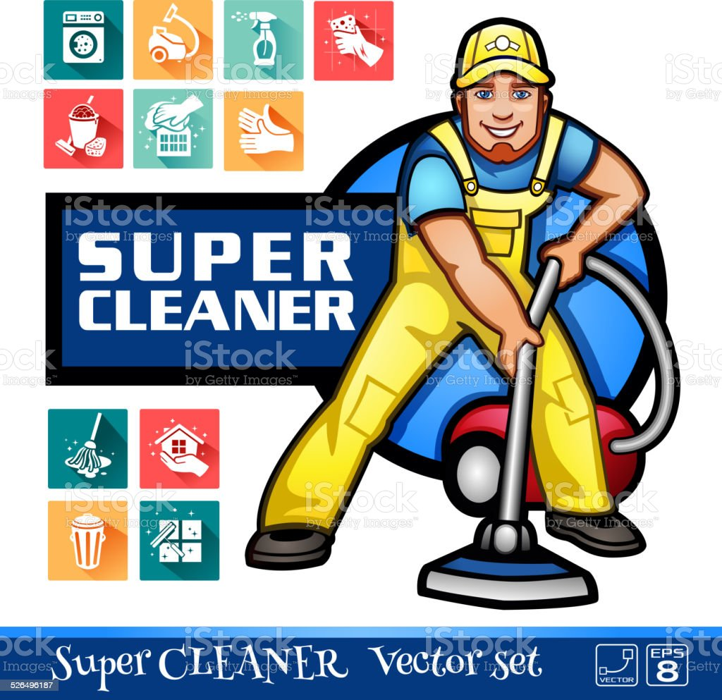 Super Cleaner worker vector art illustration