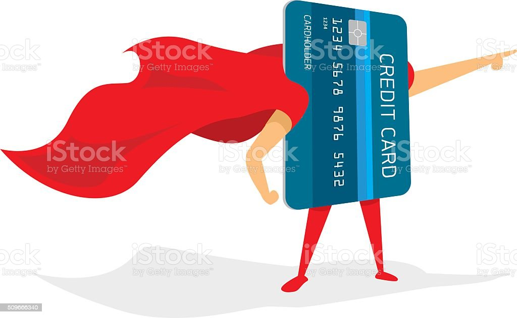 Super credit card hero with cape vector art illustration