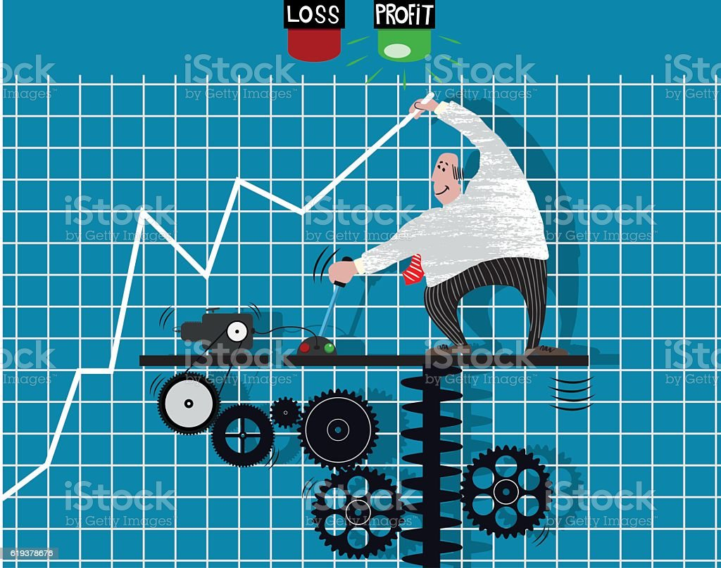 Super dooper graph profit machine vector art illustration