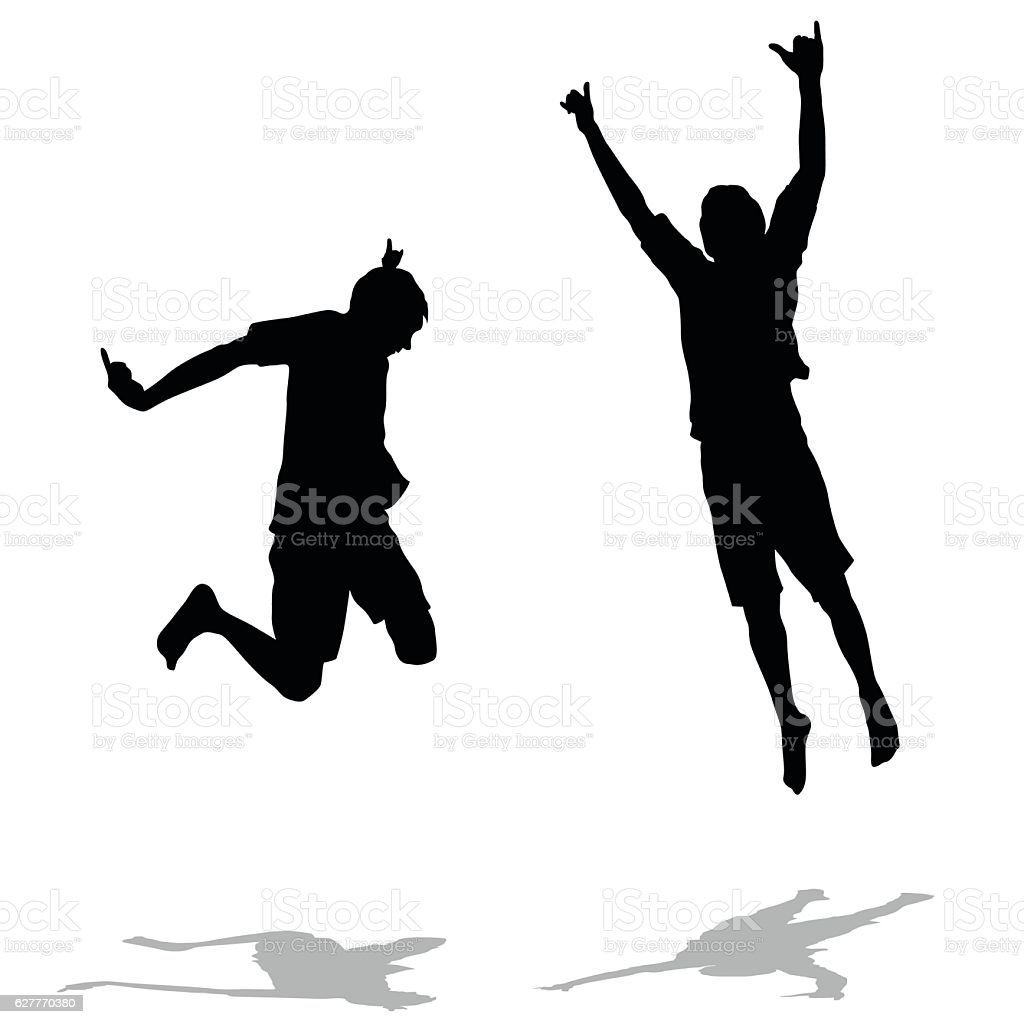 Super Energized Silhouette Jumps vector art illustration
