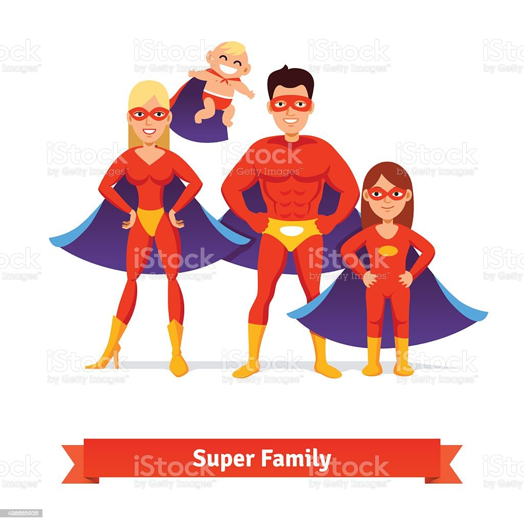 Super family. Father, mother, daughter, baby vector art illustration