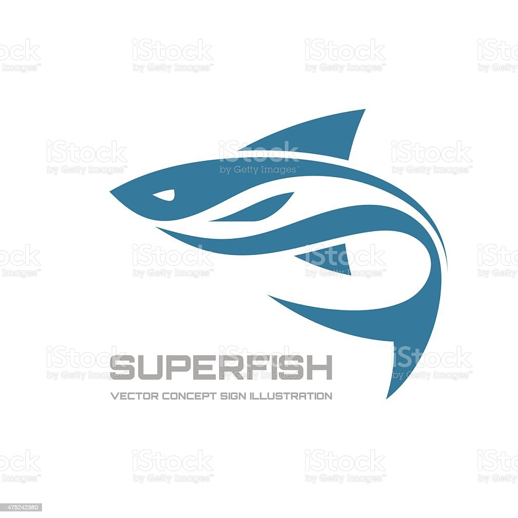 Super fish - vector logo concept illustration vector art illustration