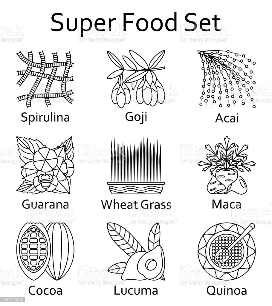 Super food icons set. Vector illustration. vector art illustration
