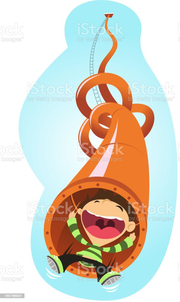 Super fun slide tube amusement park royalty-free stock vector art