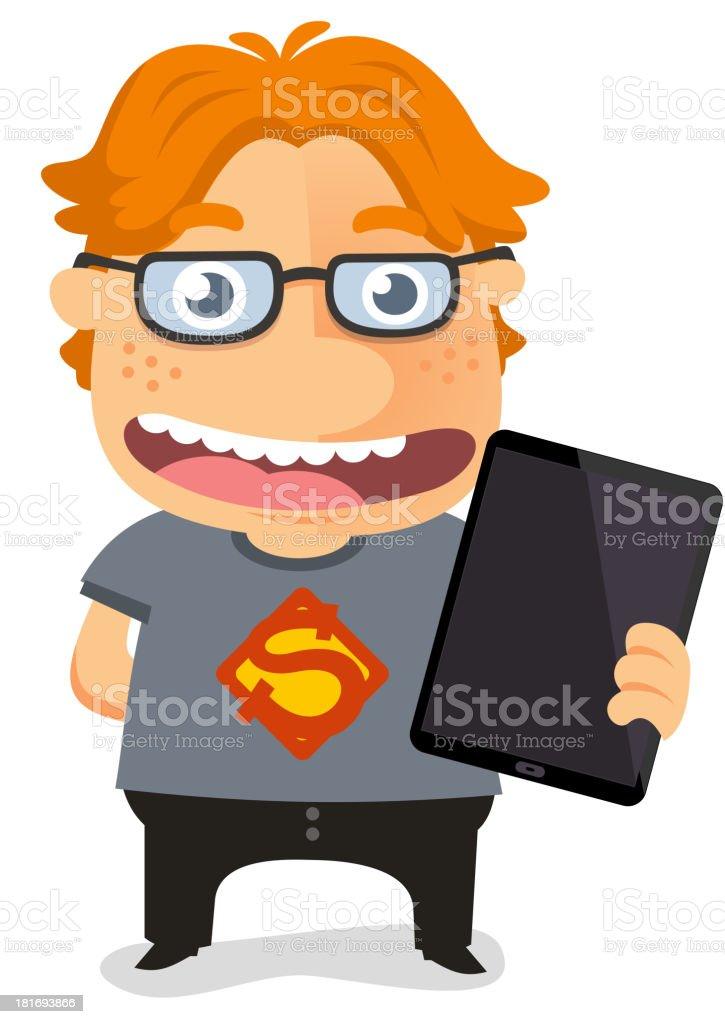 Super geek nerd holding a tablet vector art illustration