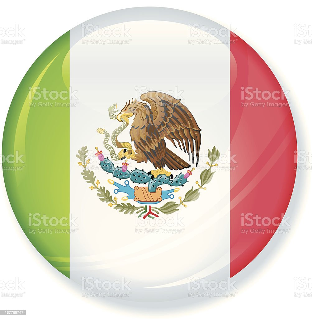 Super Glossy Mexico Flag Button *REQUEST* royalty-free stock vector art