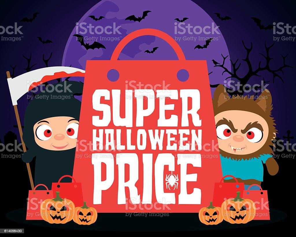 Super Halloween price design background vector art illustration