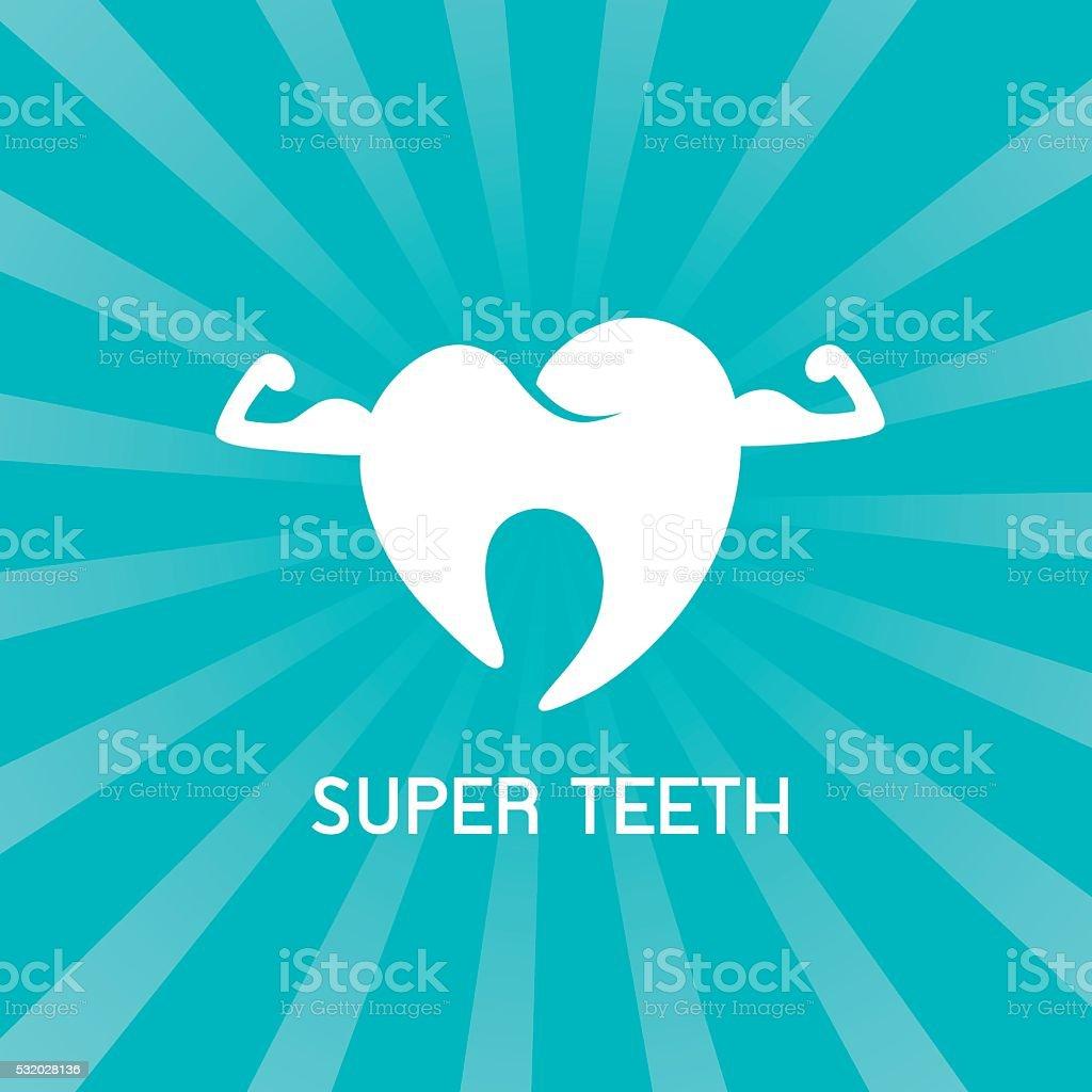 Super health cartoon tooth. vector art illustration