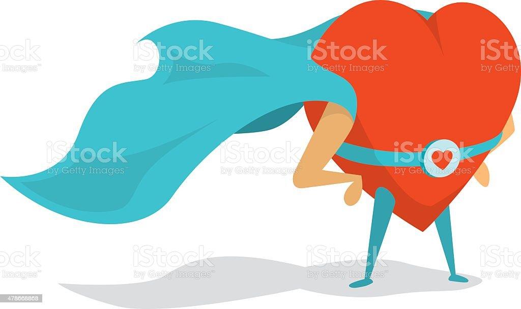 Super heart love hero wearing a cape vector art illustration