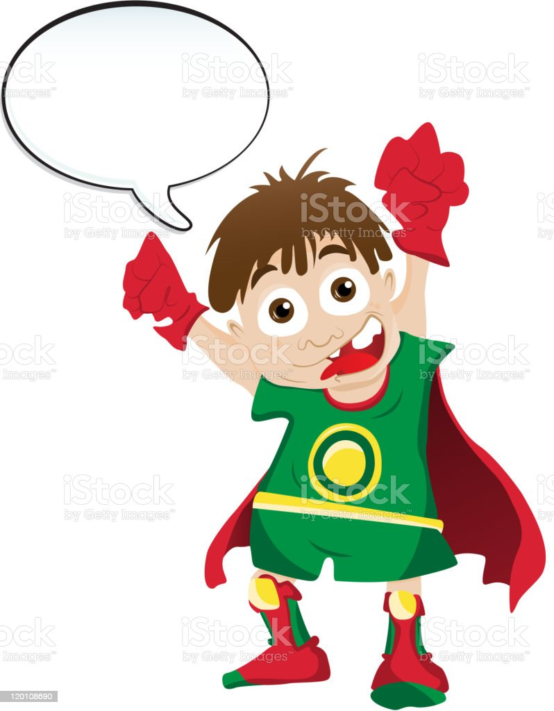 Super hero Boy with Speech Bubble royalty-free stock vector art