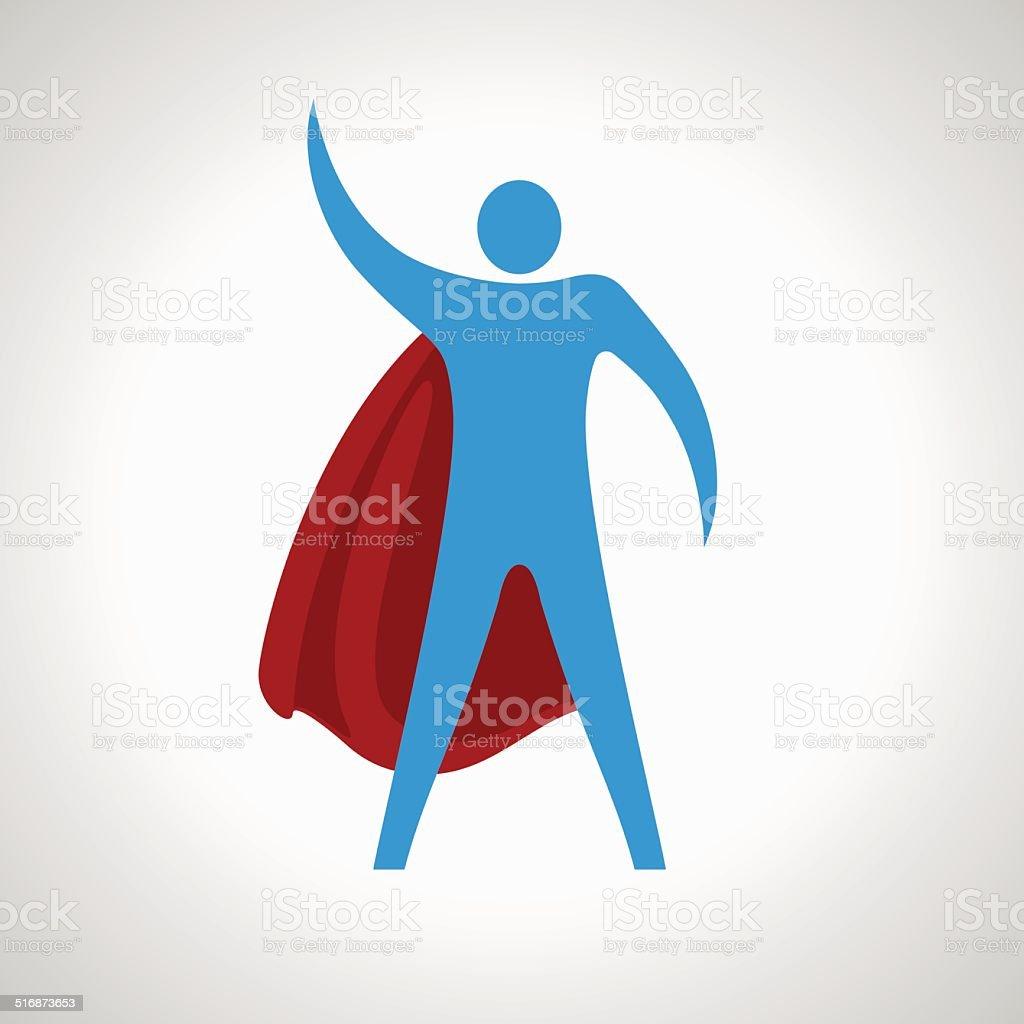 super hero cartoon silhouette icon. abstract vector art illustration
