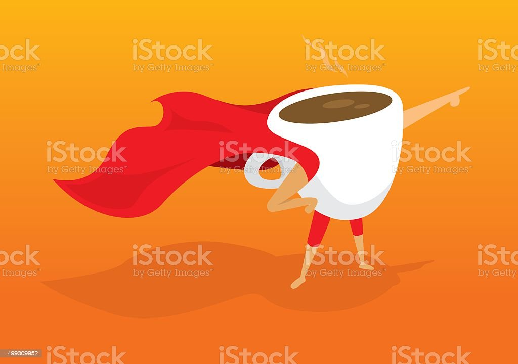 Super hero coffee breakfast pointing aiding to morning rescue vector art illustration