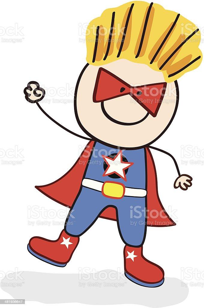 super hero costumed boy royalty-free stock vector art