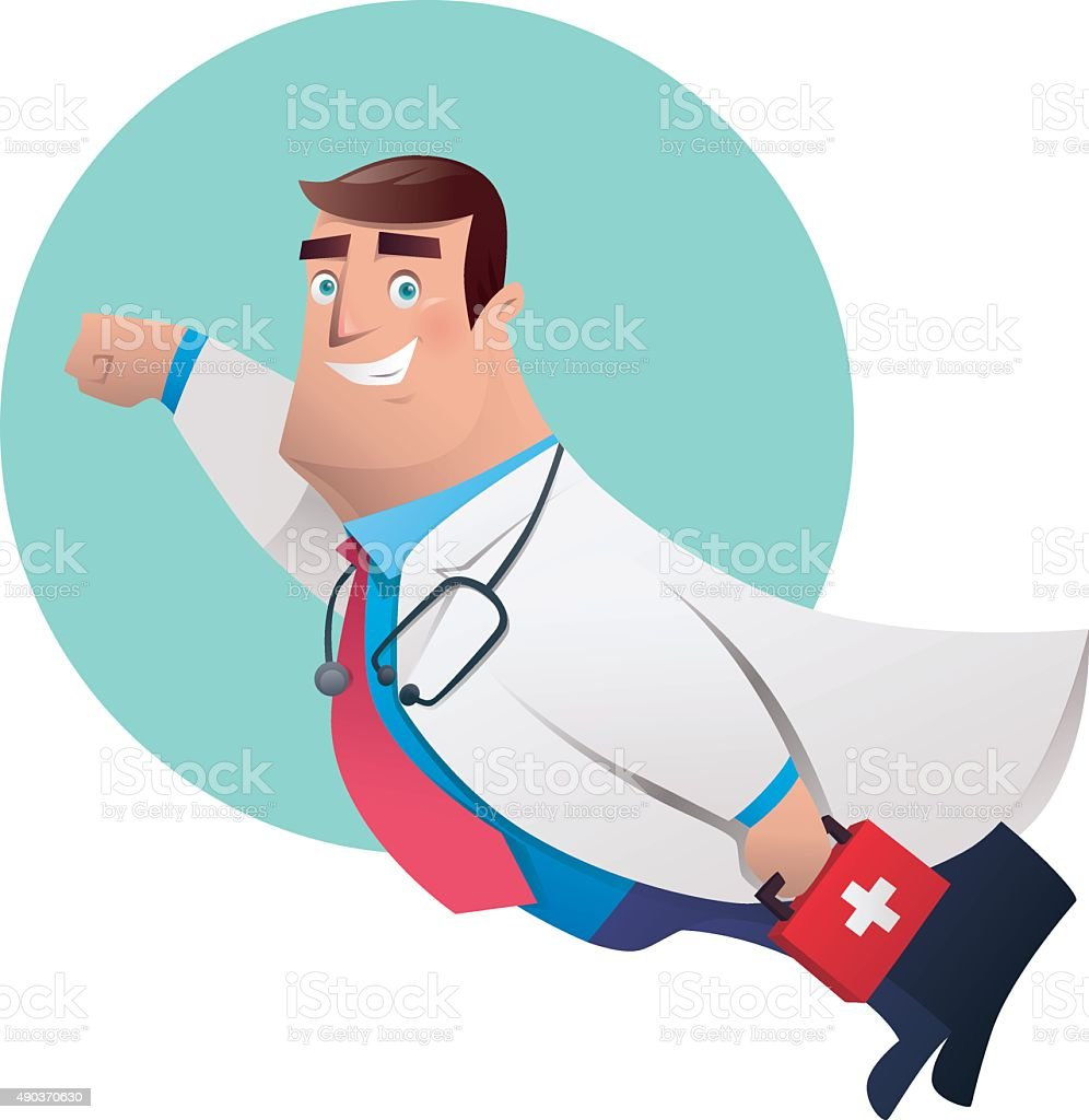 super hero doctor vector art illustration